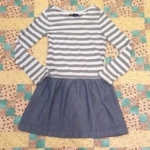 Long Sleeve Striped Dress Girls Size M (8)